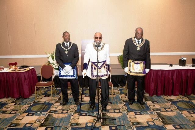 PGM Cash presiding over the installation ceremonies, supported by PM Irby and GM Wilson at Most Worshipful Prince Hall Grand Lodge Of Texas.